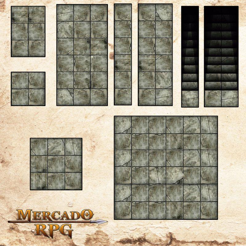 Kit Grid Riscável Modular (Com Caixa / Bandeja de dados) - RPG Battle Grid D&D