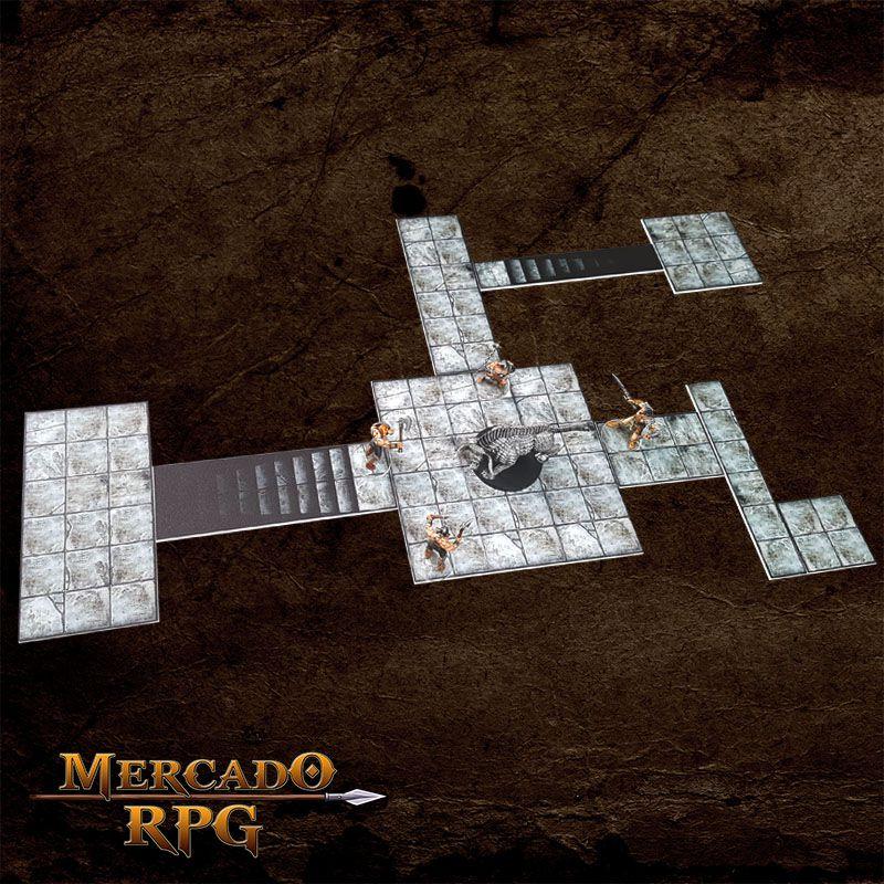 Kit Grid Riscável Modular (Com Caixa / Bandeja de dados) - RPG Battle Grid D&D  - Mercado RPG