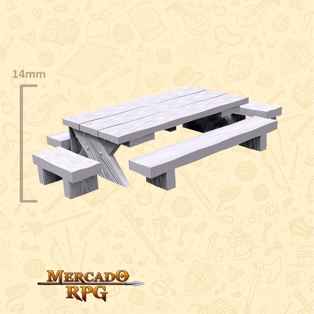 Kit Mesa com bancos de madeira A - Miniaturas de cenários para RPG e Boardgames