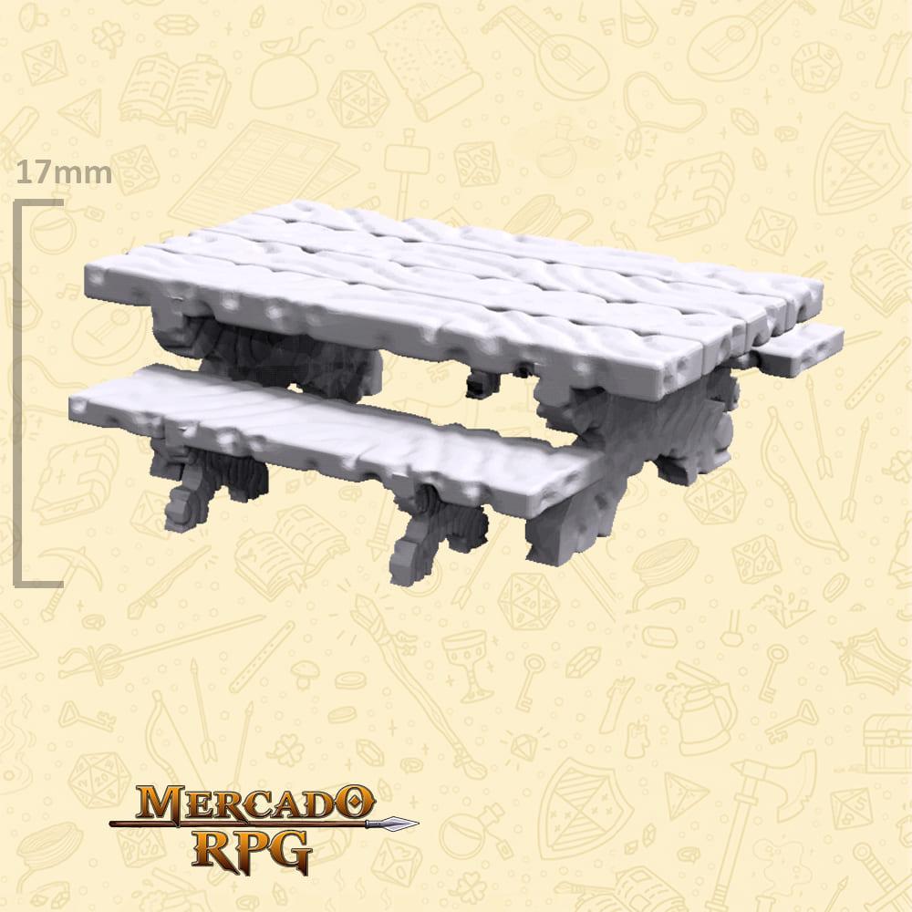 Kit Mesa com bancos de madeira B - Miniaturas de cenários para RPG e Boardgames
