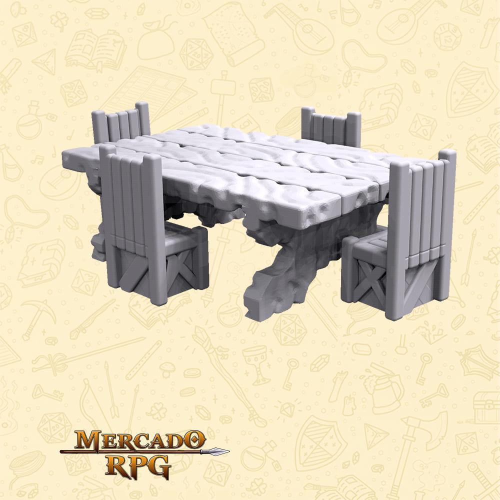 Kit Mesa com bancos de madeira C - Miniaturas de cenários para RPG e Boardgames