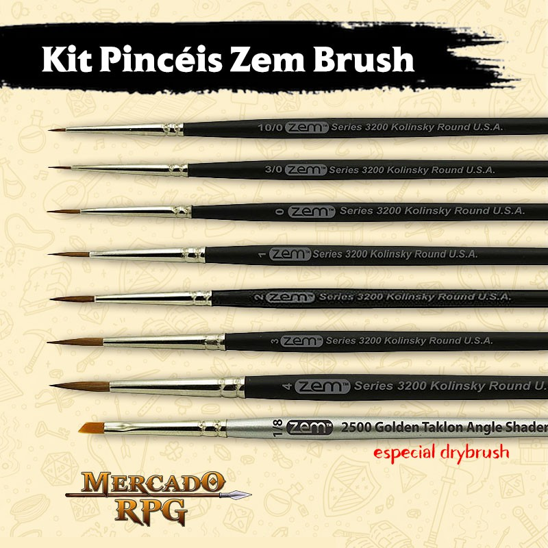 Kit Pincéis Zem Brush com Pincel Drybrush- RPG