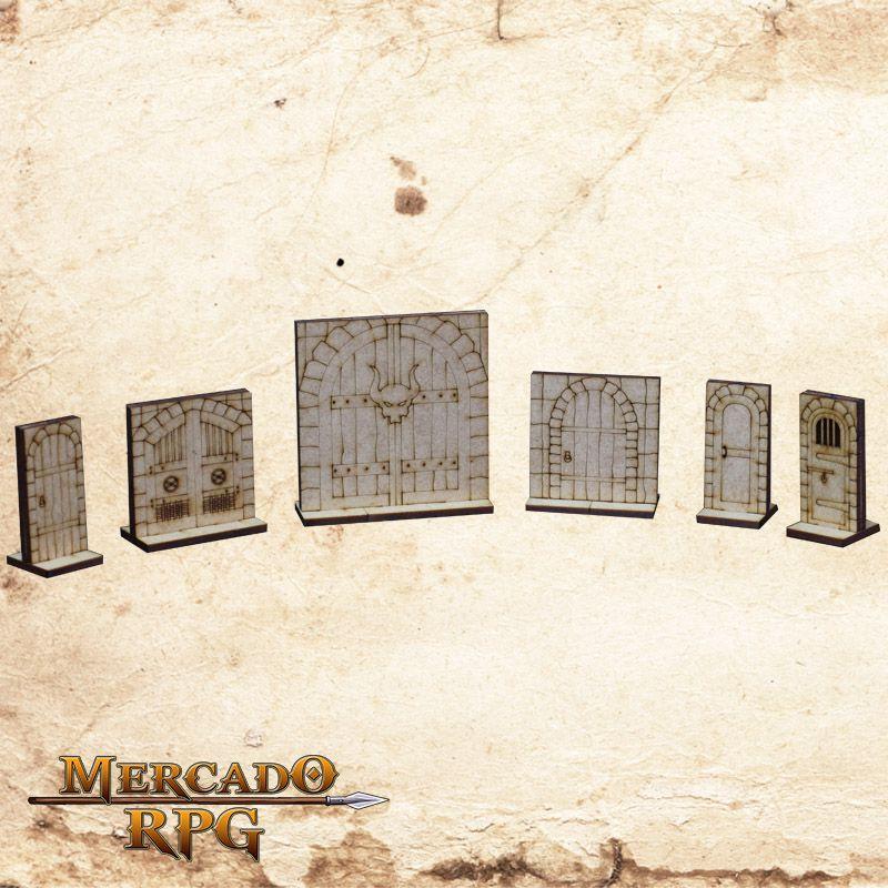 Kit Portas Dungeon 3D Grid de Batalha - RPG Battle Grid D&D
