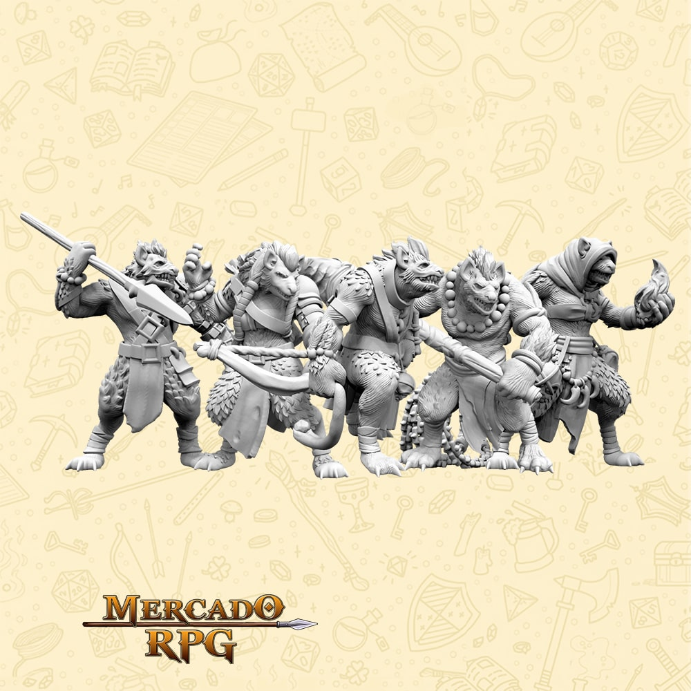 Kit Savage Gnolls - Miniaturas para RPG