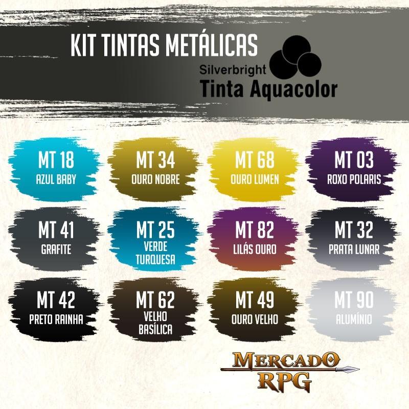 Kit Tintas Aquacolor Metálicas - Silverbright - RPG