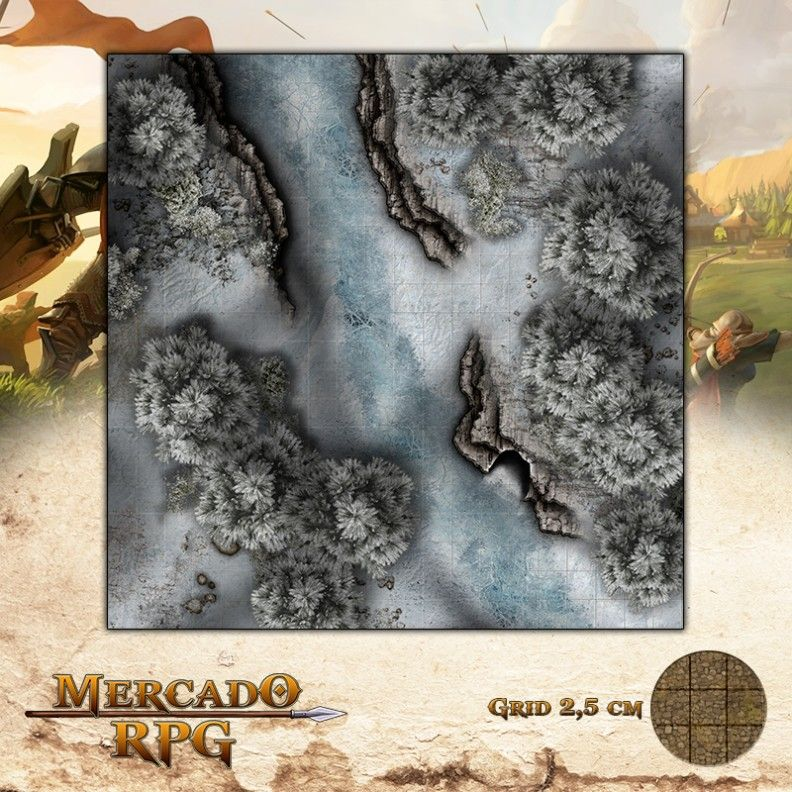 Rio Congelado 50x50 - RPG Battle Grid D&D - Mercado RPG