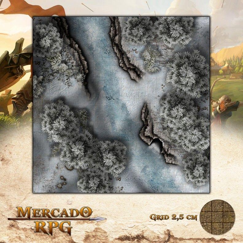 Rio Congelado 50x50 Grid de Batalha - RPG Battle Grid D&D