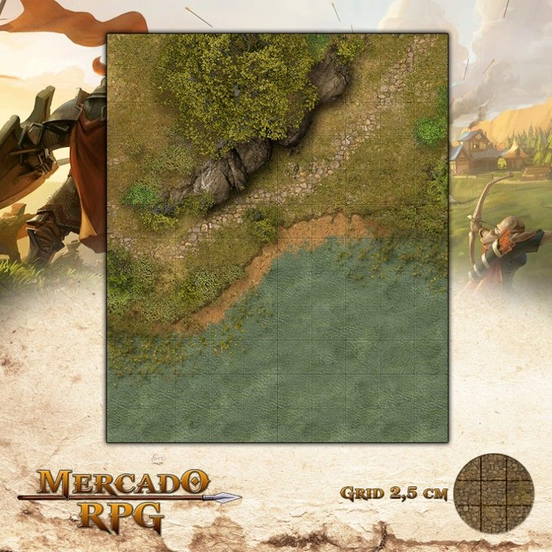 Lago do Vale Perdido25x30 Grid de Batalha - RPG Battle Grid D&D