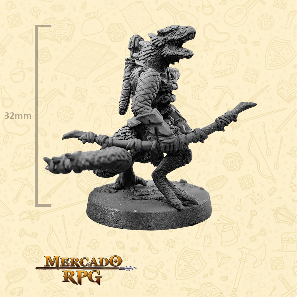 Lizardfolk - Arco e Flecha - Basilisco Miniaturas - Metal Branco - Miniaturas para RPG
