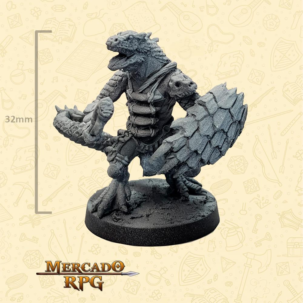 Lizardfolk - Clava duas pontas e Escudo - Basilisco Miniaturas - Metal Branco - Miniaturas para RPG