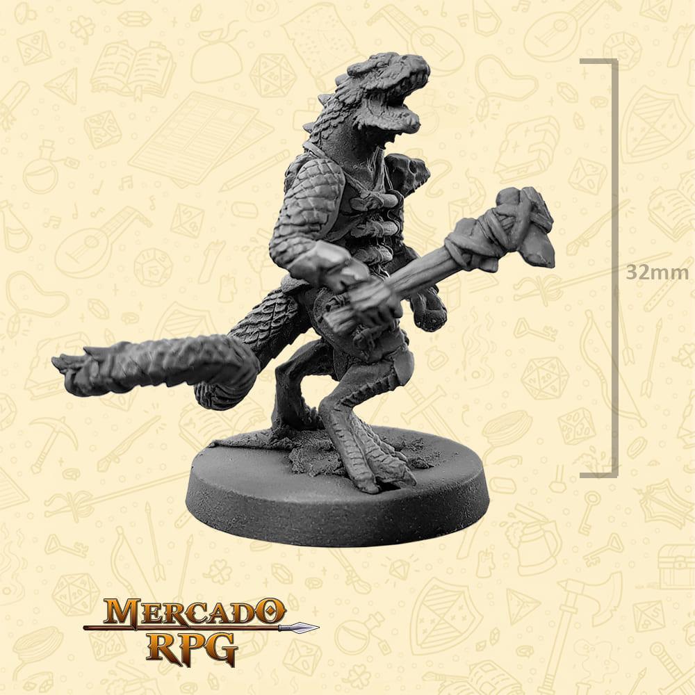Lizardfolk - Clava duas pontas - Basilisco Miniaturas - Metal Branco - Miniaturas para RPG