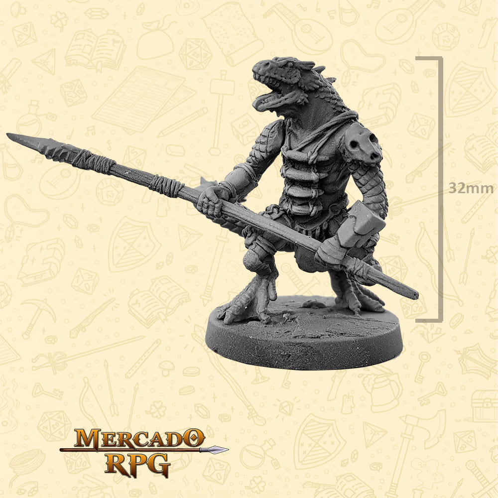Lizardfolk - Lança - Basilisco Miniaturas - Metal Branco - Miniaturas para RPG