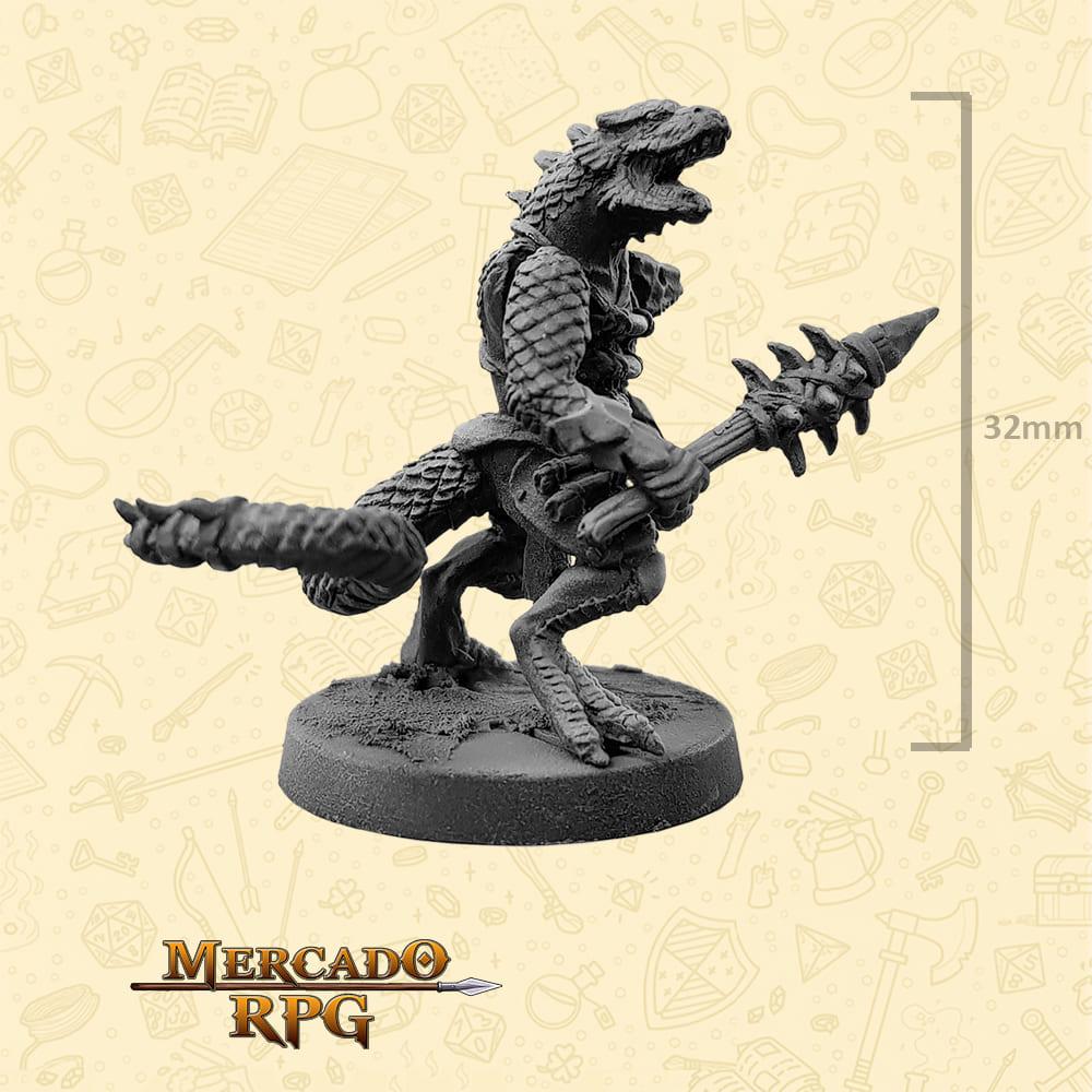 Lizardfolk - Massa - Basilisco Miniaturas - Metal Branco - Miniaturas para RPG