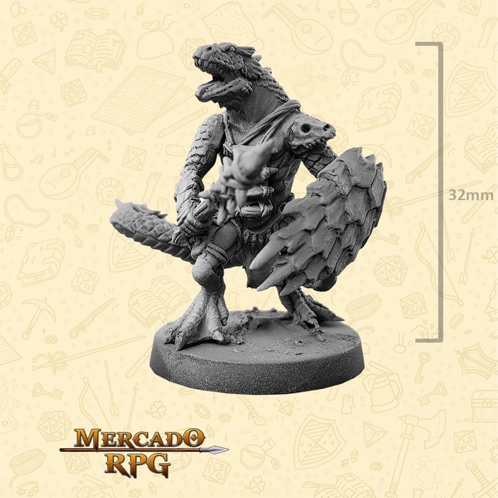 Lizardfolk - Massa e Escudo - Basilisco Miniaturas - Metal Branco - Miniaturas para RPG