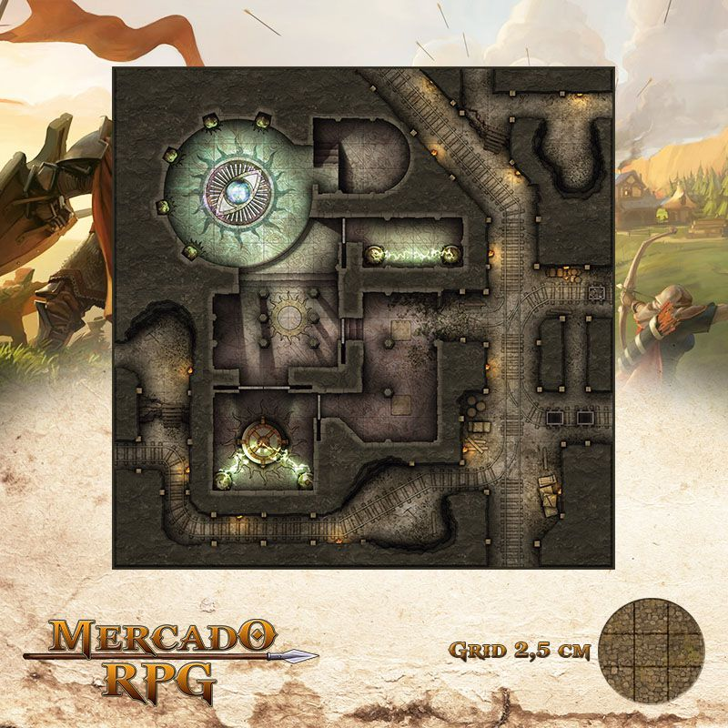 Magnificente Templo de Gebinn 50x50 - RPG Battle Grid D&D