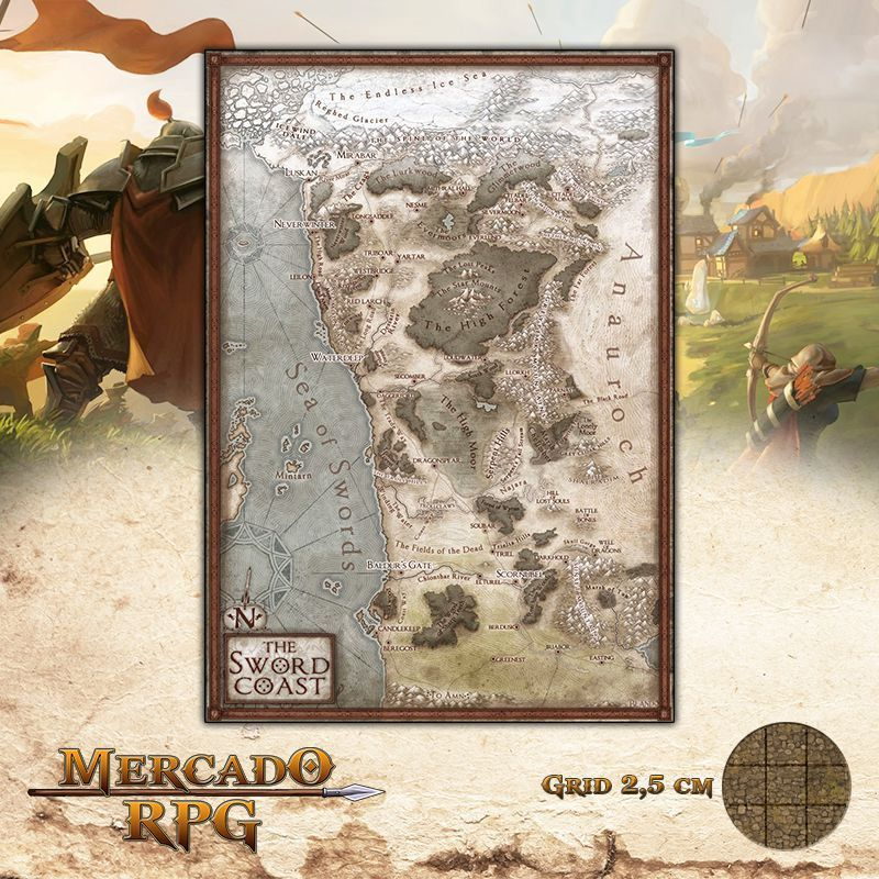 Mapa costa da espada 28x41 - RPG Battle Grid D&D