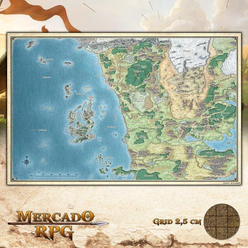 Mapa Costa da Espada Gigante Grid de Batalha - RPG Battle Grid D&D