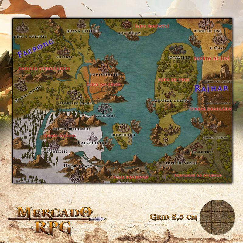 Mapa para RPG 35x26 Grid de Batalha - RPG Battle Grid D&D