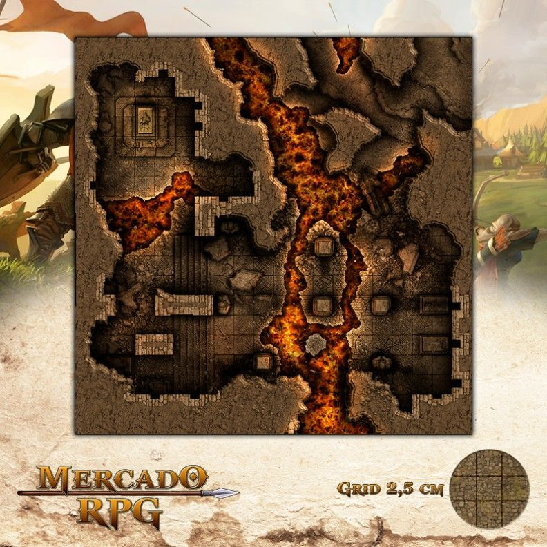 Masmorra Vulcânica 50x50 - RPG Battle Grid D&D
