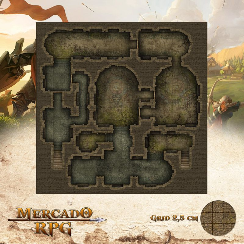 Mausoléu da Perdição - Catacumba 50x50 - RPG Battle Grid D&D  - Mercado RPG