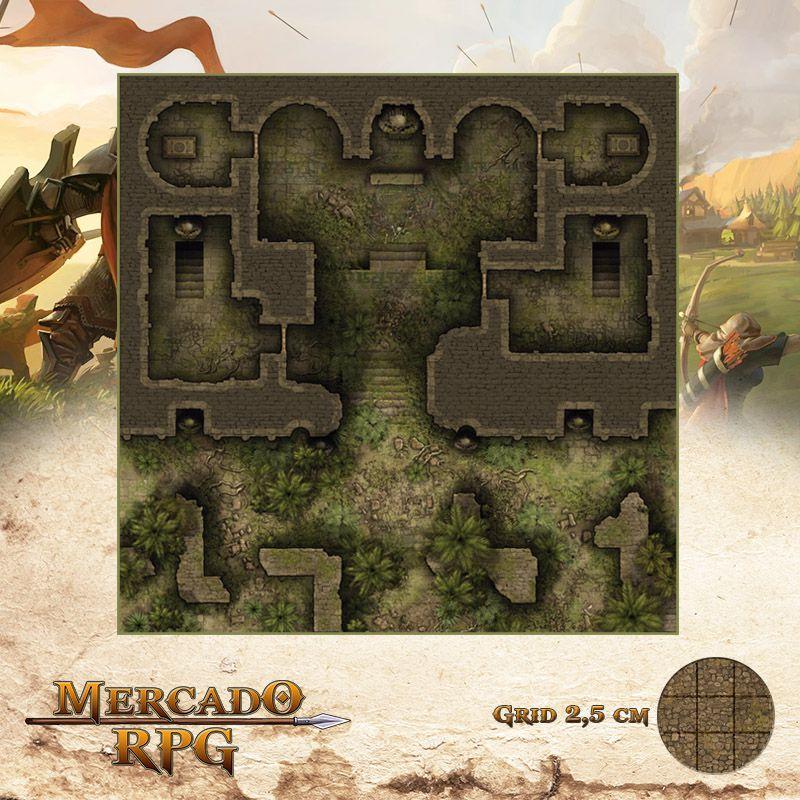Mausoléu da Perdição - Entrada 50x50 Grid de Batalha - RPG Battle Grid D&D