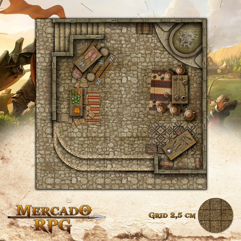 Mercado das Docas 25x25 - RPG Battle Grid D&D  - Mercado RPG