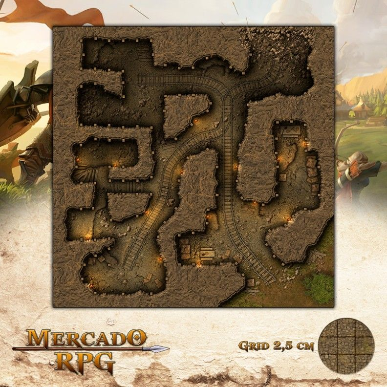 Minas dos Picos Gelados 50x50 - RPG Battle Grid D&D  - Mercado RPG