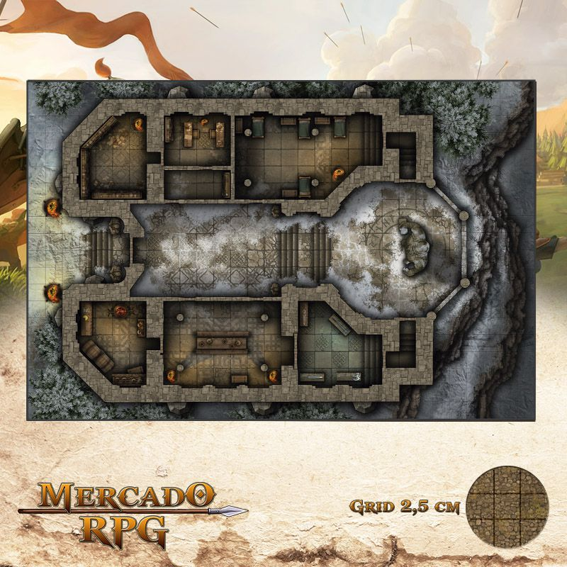 Monastério da Ordem Sagrada 50x75 Grid de Batalha - RPG Battle Grid D&D