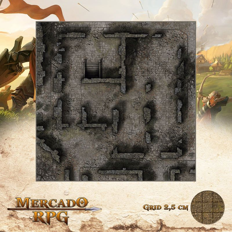 Monastério das Lamúrias - Entrada 50x50 - RPG Battle Grid D&D