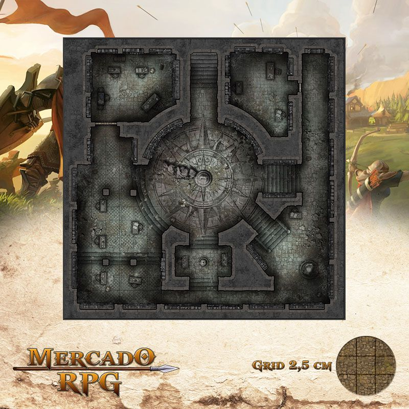 Monastério das Lamúrias - Salões 50x50 Grid de Batalha - RPG Battle Grid D&D