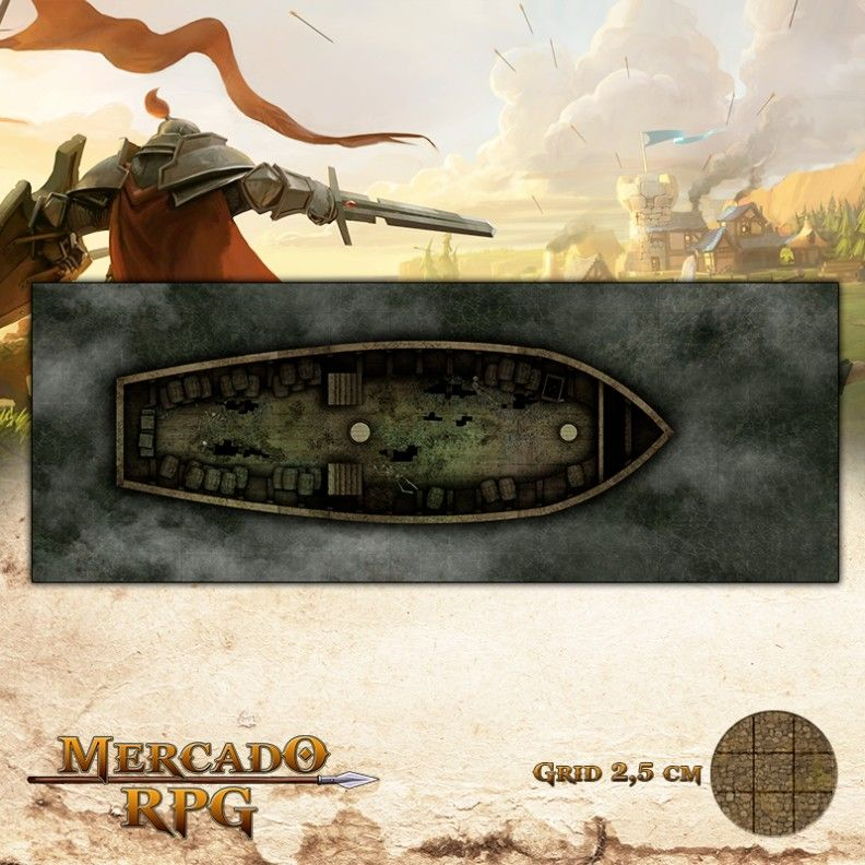 Navio Abandonado Sótão 67,5 x25 - RPG Battle Grid D&D