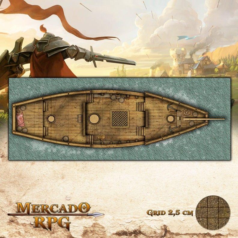 Navio Pirata Convés 65x25 Grid de Batalha - RPG Battle Grid D&D