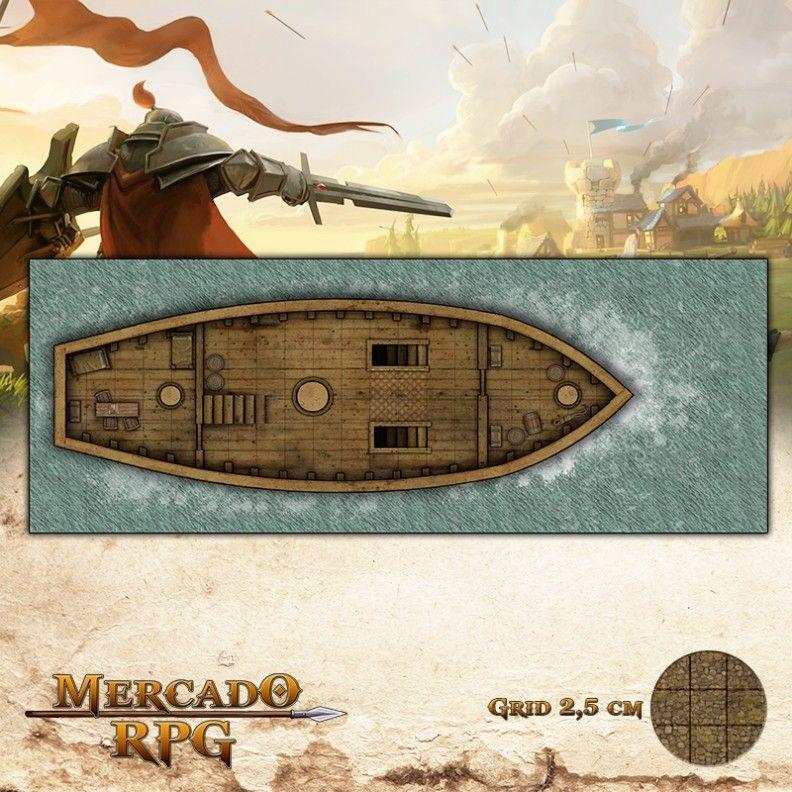 Navio Pirata Piso Médio 65x25 Grid de Batalha - RPG Battle Grid D&D