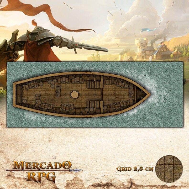 Navio Pirata Sala de Carga 65x25 Grid de Batalha - RPG Battle Grid D&D