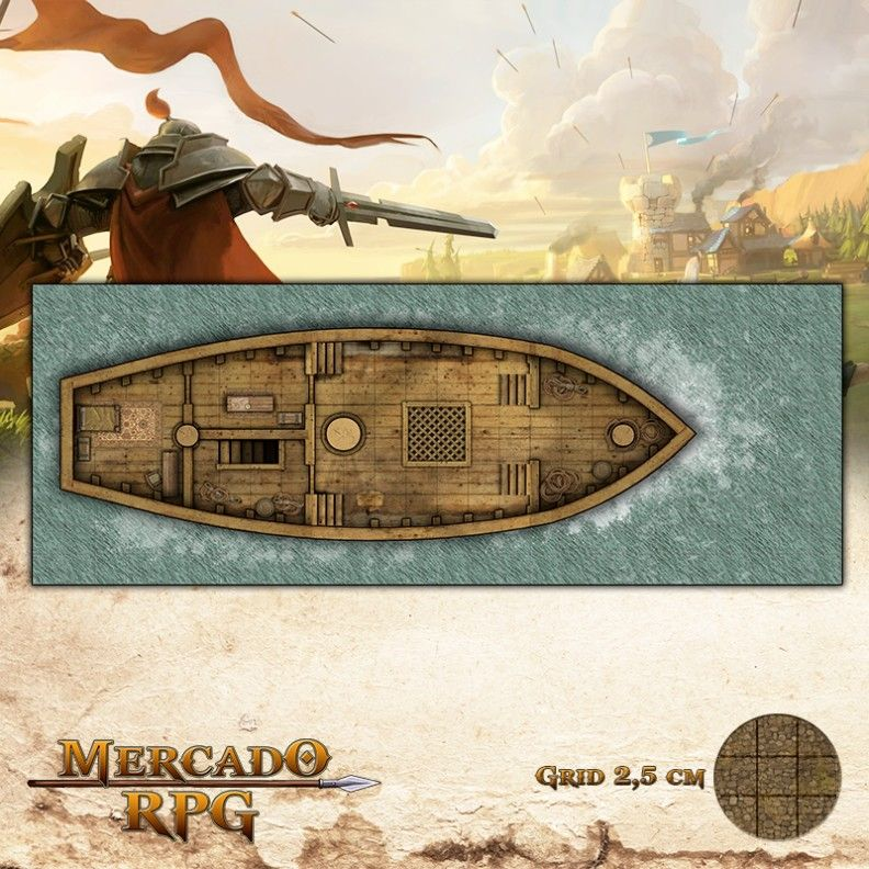Navio Pirata Piso Superior 65x25 - RPG Battle Grid D&D