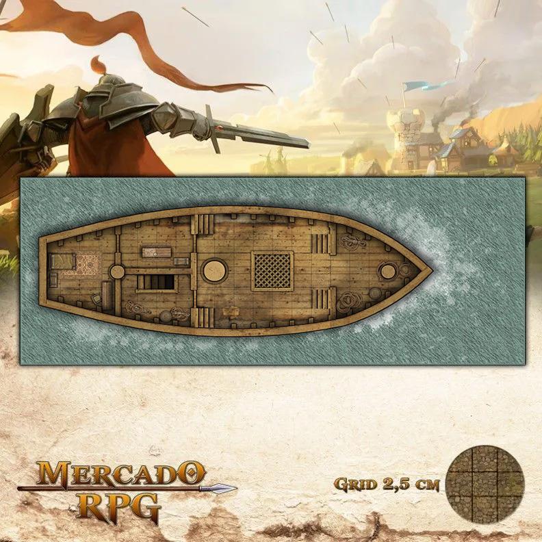 Navio Pirata Piso Superior 65x25 Grid de Batalha - RPG Battle Grid D&D
