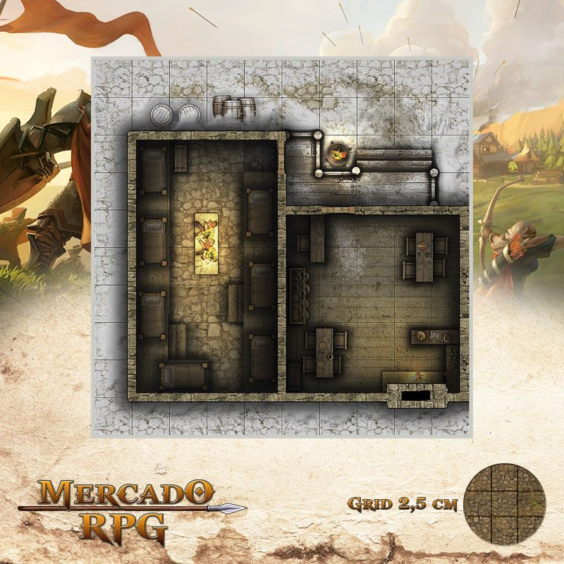 Neve Morta - Estalagem 25x25 Grid de Batalha - RPG Battle Grid D&D