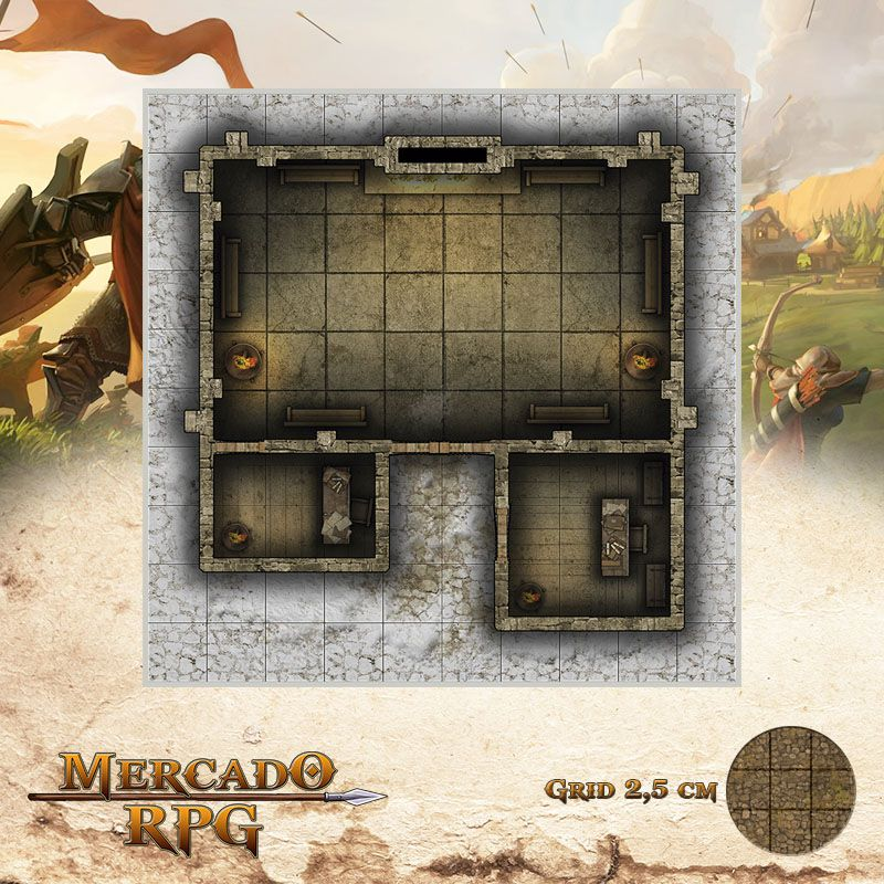 Neve Morta - Salão 25x25 - RPG Battle Grid D&D  - Mercado RPG