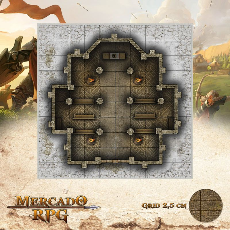 Neve Morta - Templo Nortenho 25x25 Grid de Batalha - RPG Battle Grid D&D