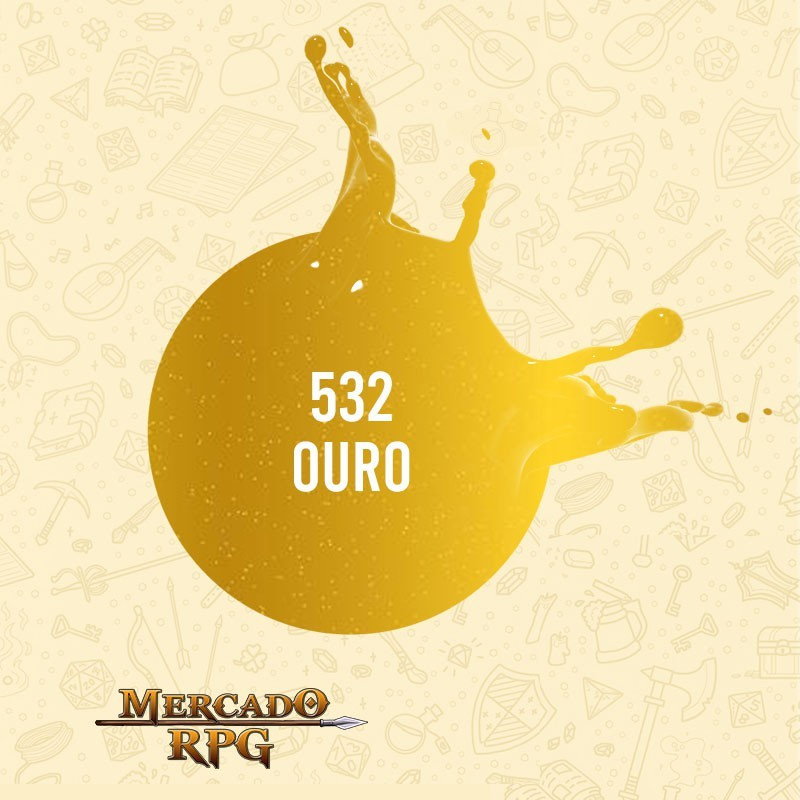 Ouro - 532 - Tinta Metal Colors Acrílica 60ml - Acrilex - RPG