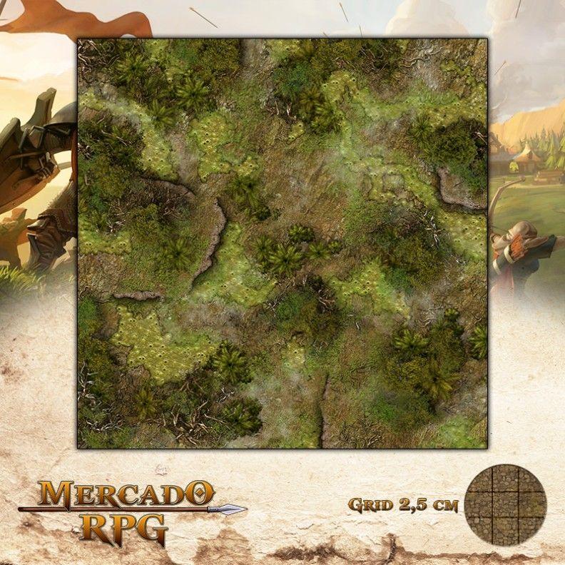 Pântanos Ardentes 50x50 Grid de Batalha - RPG Battle Grid D&D
