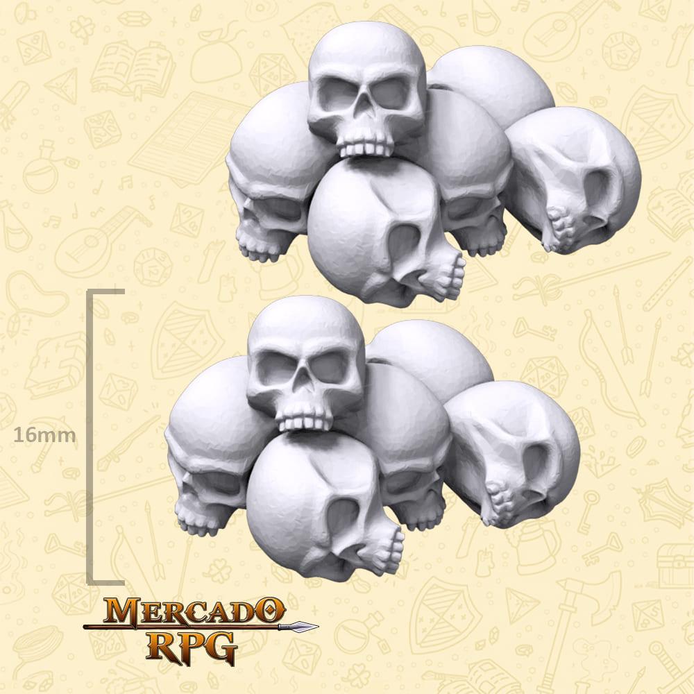 Pilha de Crânios para Bases e Cenários - Miniatura - RPG