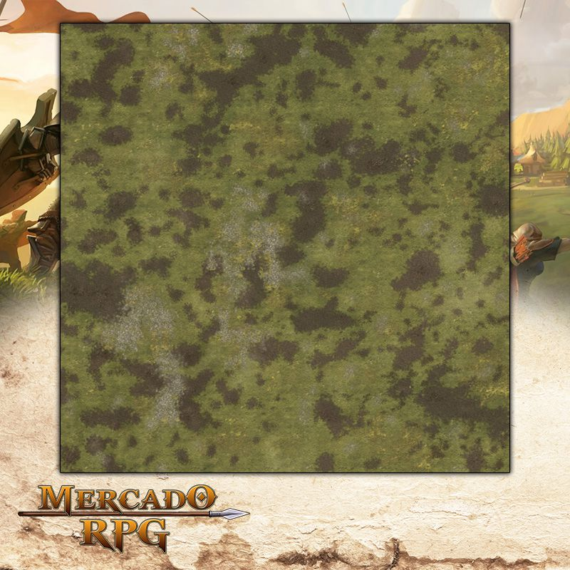 Planície A 120x120 (Com Grid) - Battle Grid Wargame  - Mercado RPG