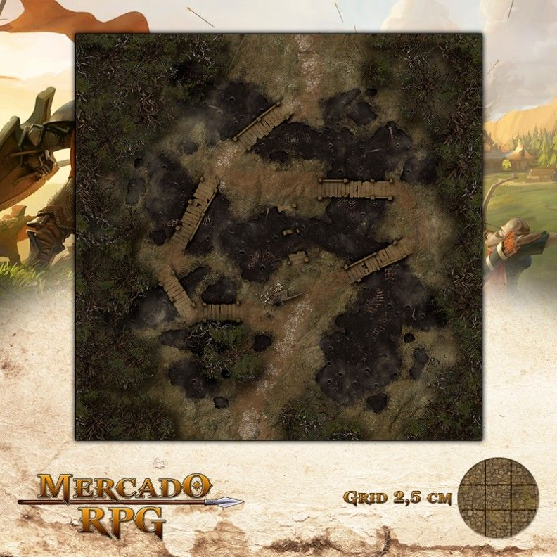 Poços Necróticos 75x75 - RPG Battle Grid D&D  - Mercado RPG