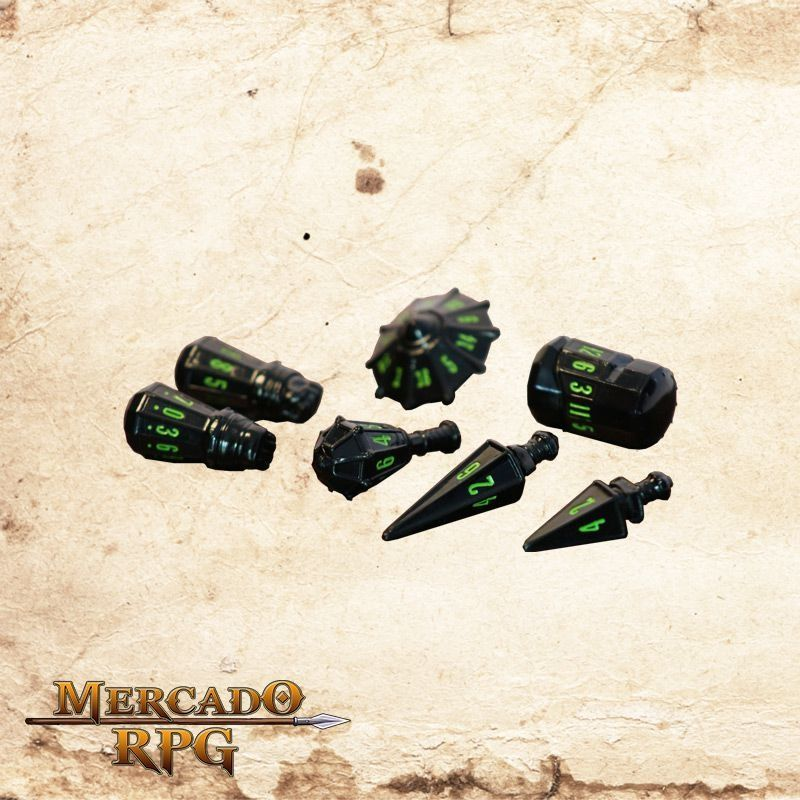 PolyHero Dice Dados RPG - Black & Goblin Green - Mercado RPG