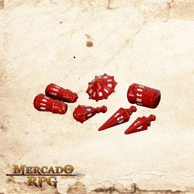 Poly Hero Dice - Crimson & Bone White  - Mercado RPG