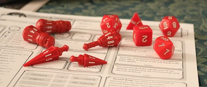PolyHero Dice Dados RPG  - Crimson & Bone White  - Mercado RPG