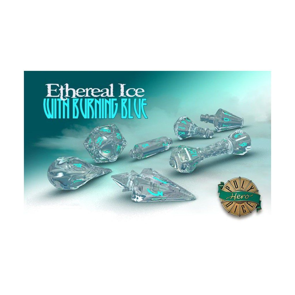 PolyHero Dice - Ethereal Ice with Burning Blue  - Mercado RPG