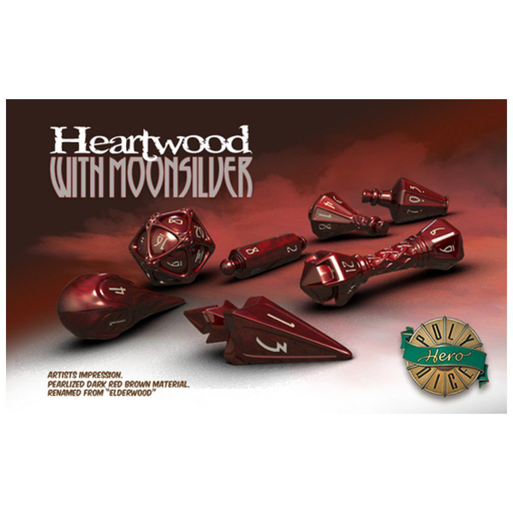 PolyHero Dice Heartwood With Moonsilver  - Mercado RPG