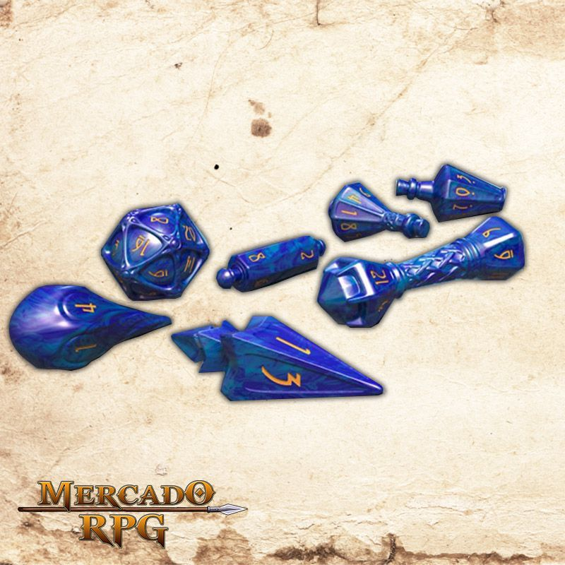 PolyHero Dice Lapis Lazuli with Glittering Gold  - Mercado RPG